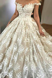 Ball Gown Off-the-Shoulder Court Train Ivory Tulle Wedding Dress with Appliques AHC576