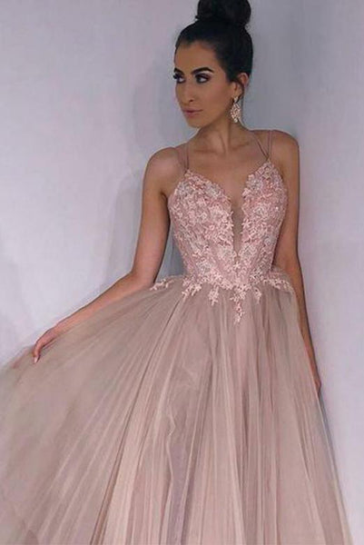 Hot Selling Pink Prom Dresses Long Spaghetti Straps Appliques Evening Dresses PDA001 | ballgownbridal