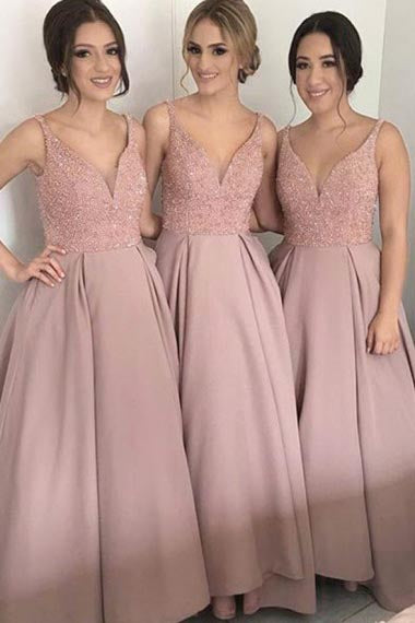 A-Line Deep V-Neck Floor-Length Blush Satin Bridesmaid Dress with Beading AHC606 | ballgownbridal