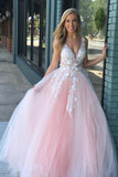 A-Line V-Neck Floor-Length Pink Prom Dress with Appliques Pearls ODA016 | ballgownbridal