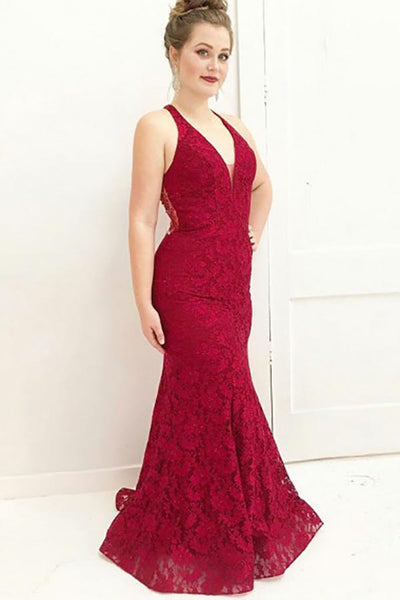 Mermaid Deep V-Neck Sweep Train Dark Red Lace Sleeveless Prom Dress with Beading LR112