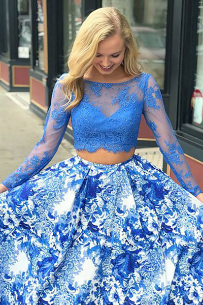 Two Piece Bateau Sweep Train Long Sleeves Blue Printed Satin Prom Dress with Beading Lace LR89