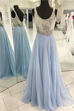 A-Line Scoop Sweep Train Light Blue Chiffon Backless Prom Dress with Beading LR342