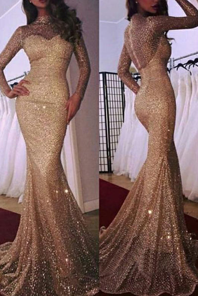 Mermaid Champagne Prom Dresses with Sleeve High Neck Evening Dresses PDA217 | ballgownbridal
