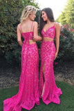 Two Piece Mermaid Spaghetti Straps Fuchsia Lace Split Prom Dress with Beading PDA290 | ballgownbridal| ballgownbridal
