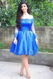 A Line Off the Shoulder Blue Short Homecoming Dresses Long Sleeves PDA116 | ballgownbridal