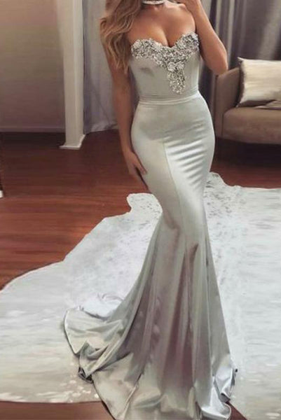 Sweetheart Mermaid Long Prom Dresses Gray Evening Dresses with Appliques PDA225 | ballgownbridal