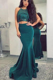 Two Piece Halter Green Long Prom Evening Dresses with Appliques PDA230 | ballgownbridal