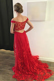 A-Line Off-the-Shoulder Sweep Train Red Lace Open Back Sleeveless Prom Dress LR158