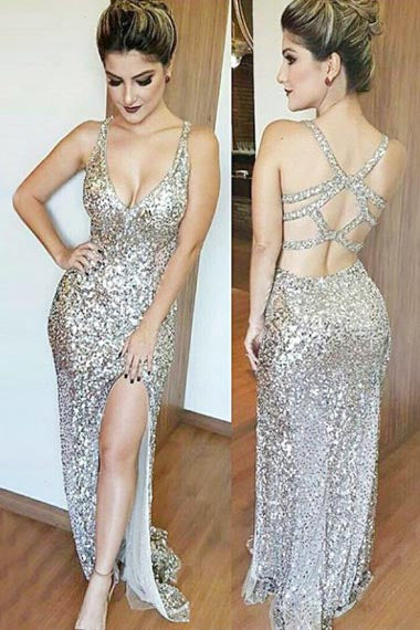Mermaid Deep V-Neck Floor-Length Split-Side Open Back Silver Sequined Prom Dress AHC694 | ballgownbridal