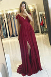 A-Line Deep V-Neck Sweep Train Cold Shoulder Dark Red Chiffon Prom Dress LR175
