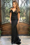 Mermaid Spaghetti Straps Backless Sweep Train Black Prom Dress PDA479 | ballgownbridal