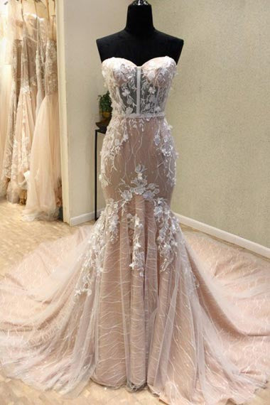 Mermaid Sweetheart Court Train Champagne Lace Wedding Dress with Appliques AHC582 | ballgownbridal