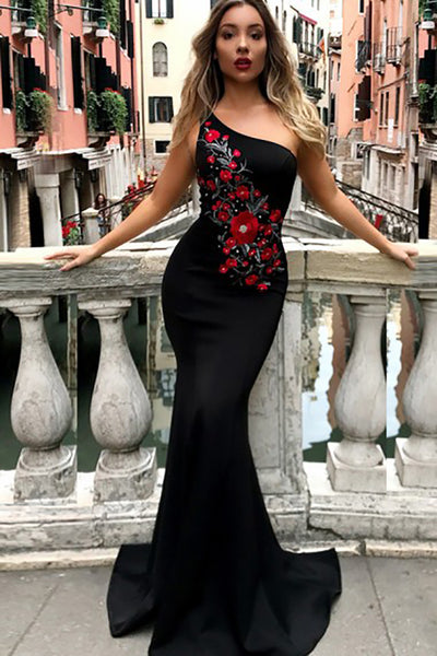 Mermaid One-Shoulder Sweep Train Black Satin Prom Dress with Embroidery L360