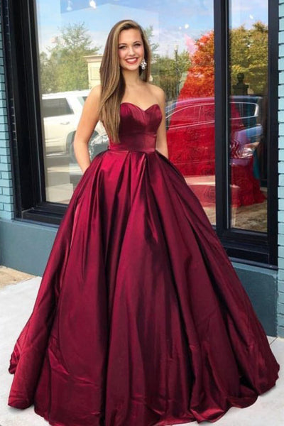 A-Line Sweetheart Floor-Length Burgundy Prom Dress with Pockets PDA371 | ballgownbridal
