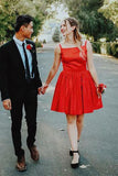 Red Short Homecoming Dresses Square Neck Mini Party Dresses PDA147 | ballgownbridal