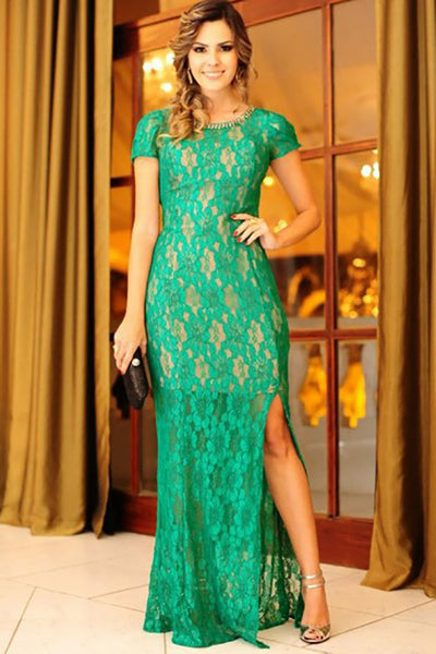 Mermaid Crew Floor-Length Cap Sleeves Green Lace Split Prom Dress with Beading LR405