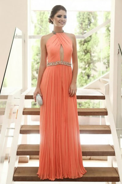 A-Line Jewel Floor-Length Coral Chiffon Keyhole Prom Dress with Beading LR199
