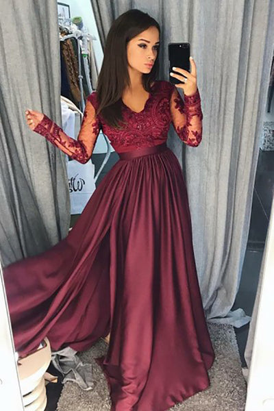 A-Line V-Neck Long Sleeves Split Burgundy Satin Prom Dress with Appliques LR372