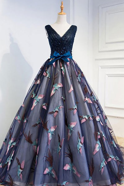 A-Line V-Neck Court Train Navy Blue Tulle Prom Dress with Appliques Beading AHC497