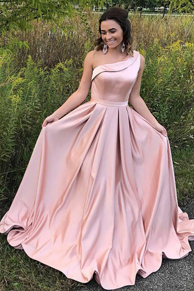 A-Line One-Shoulder Sweep Train Pink Satin Sleeveless Ruffles Prom Dress LR350