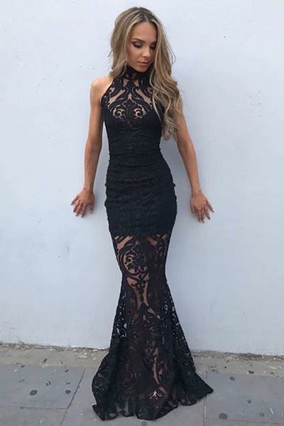 Mermaid High Neck Sweep Train Black Tulle Prom Dress with Appliques LR396