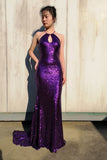 Mermaid Jewel Purple Keyhole Sequined Long Prom Dress Glitter Evening Dress PDA539 | ballgownbridal