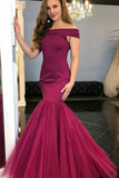 Mermaid Off-the-Shoulder Sweep Train Fuchsia Stretch Satin Prom Dress with Sequin LR182