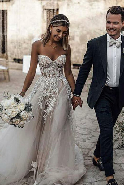 Gorgeous White Long Wedding Dresses Sweetheart Appliques Online Sale PDA173 | ballgownbridal