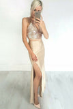 Two Piece Jewel Ankle-Length Champagne Stretch Satin Keyhole Prom Dress with Sequins LR64