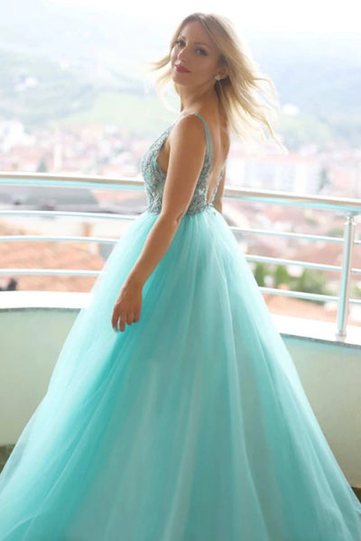 Unique Green Tulle Long Lace A Line Senior Prom Dress PDA440 | ballgownbridal