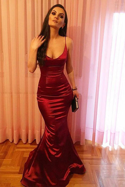 Mermaid Red Long Prom Dresses Spaghetti Straps Evening Party Dresses PDA192 | ballgownbridal