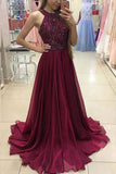 A-Line Halter Sweep Train Burgundy Chiffon Prom Dress with Beading AHC690 | ballgownbridal