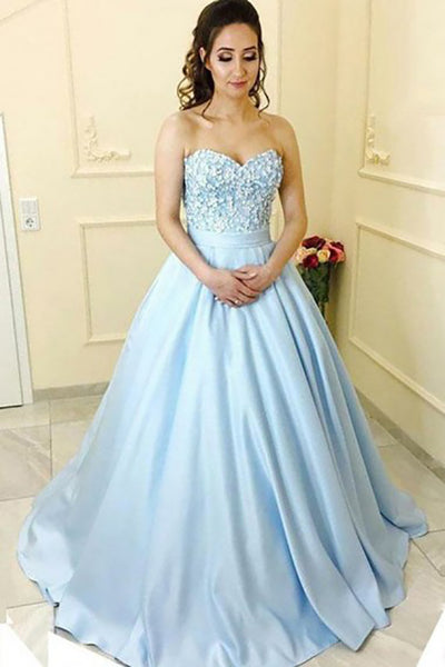 A-Line Sweetheart Court Train Blue Satin Prom Dress with Appliques Pockets LR364