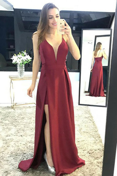 A-Line Spaghetti Straps Sweep Train Dark Red Satin Split Sleeveless Prom Dress LR249