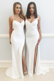 Mermaid Spaghetti Straps Sweep Train White Prom Dress with Split PDA471 | ballgownbridal