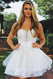 Cute A Line Sweetheart White Short Homecoming Dresses with Beading PDA117 | ballgownbridal