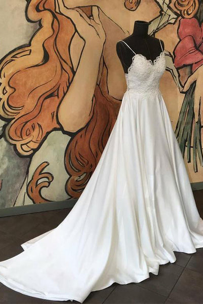 Spaghetti Straps White Wedding Dresses Appliques Sweep Train PDA163 | ballgownbridal