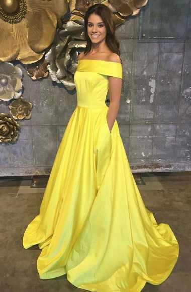 A-Line Off-the-Shoulder Swewep Train Yellow Satin Sleeveless Prom Dress with Pockets LR216