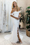 Mermaid Off-the-Shoulder Sweep Train Open Back Ivory Split Lace Wedding Dress AHC590 | ballgownbridal