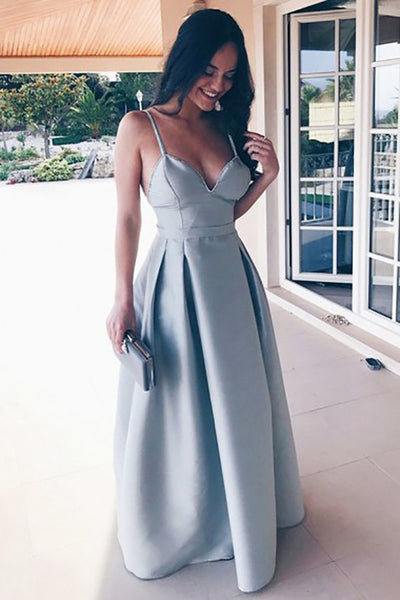 A-Line Spaghetti Straps Floor-Length Grey Satin Backless Prom Dress LR394 | ballgownbridal
