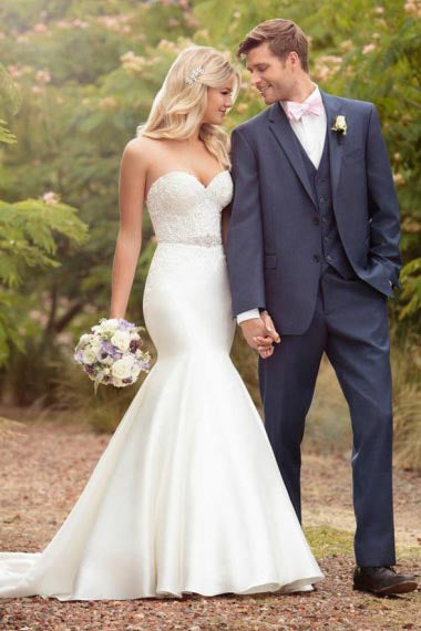 Mermaid Sweetheart Court Train Ivory Satin Wedding Dress with Appliques Beading AHC595 | ballgownbridal