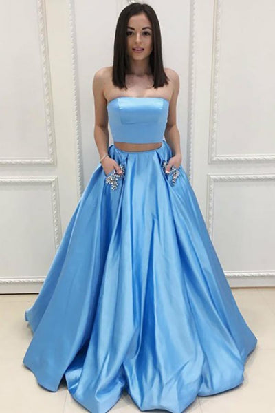Two Piece Strapless Sweep Train Blue Satin Prom Dress with Pockets AHC539