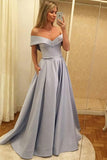 A-Line Off-the-Shoulder Sweep Train Grey Satin Prom Dress with Pockets LR310