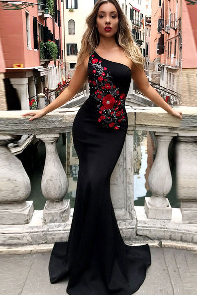 Mermaid One-Shoulder Sweep Train Black Prom Dress with Appliques PDA528 | ballgownbridal