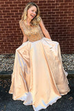 A-Line Crew Sweep Train Champagne Satin Prom Dress with Beading Pockets LR340
