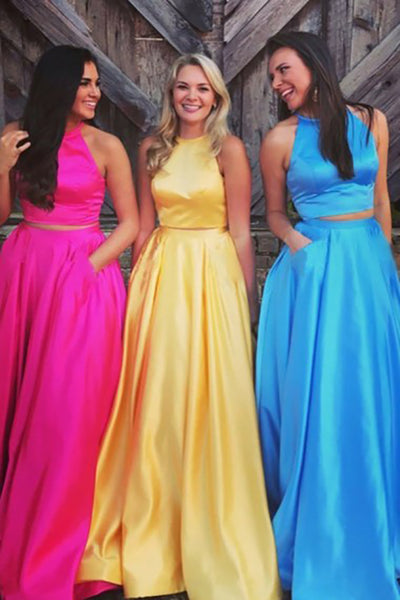 Two Piece Jewel Sweep Train Yellow Satin Open Back Prom Dress with Pockets LR226