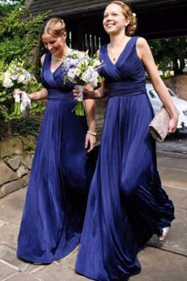 A-Line V-Neck Sleeveless Floor-Length Royal Blue Chiffon Bridesmaid Dress AHC654