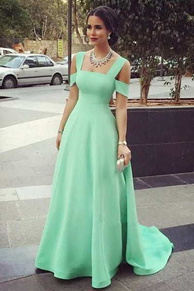 A-Lien Square Cold Shoulder Sweep Train Green Chiffon Sleeveless Prom Dress LR264