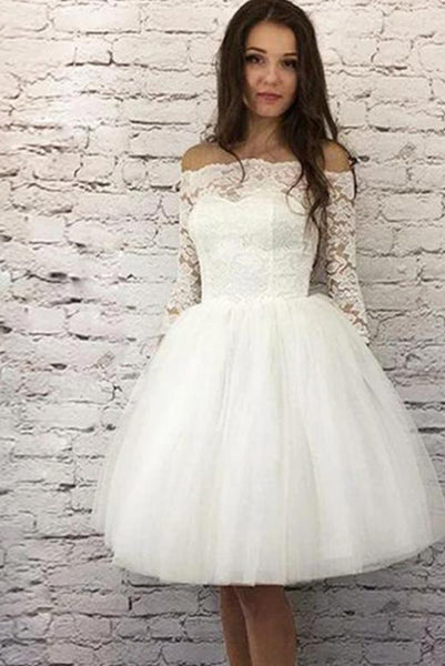 Princess A Line Off the Shoulder White Homecoming Dresses Long Sleeves PDA109 | ballgownbridal